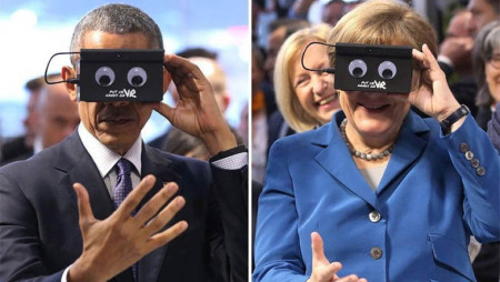 What in the world is Obama looking at in VR simulator?
