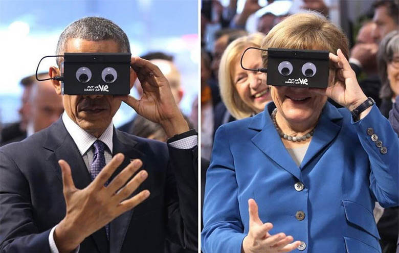 What in the world is Obama looking at in VR simulator (1)
