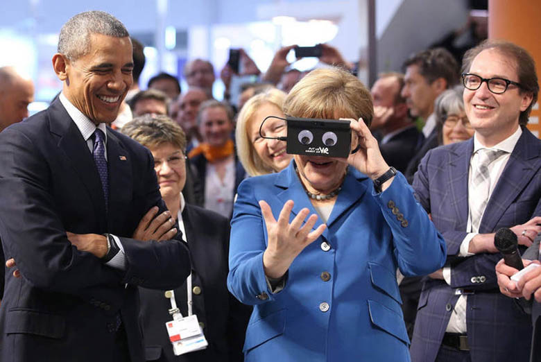 What in the world is Obama looking at in VR simulator (2)